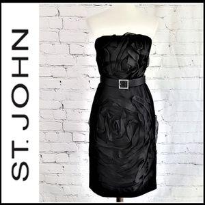 ST JOHN Black Strapless Silk Belted Dress 6